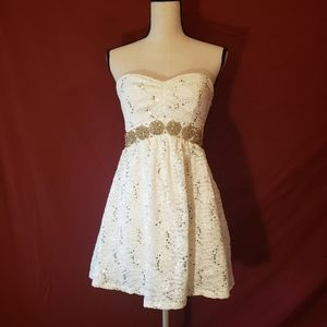 Lace white dress with sequins and rhinestones